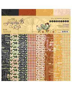 "Farmhouse 12"" x 12"" Pattern & Solids Pad - Graphic 45*"