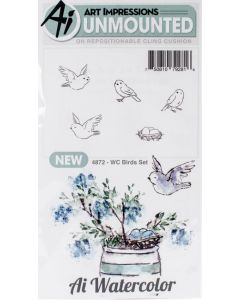 Birds Watercolor Cling Cushion Rubber Stamps - Art Impressions