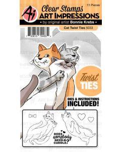 Art Impressions Twisted Cat Die & Stamp Set