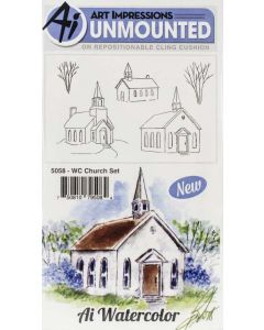 Church Watercolor Cling Cushion Rubber Stamps - Art Impressions