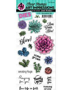 Art Impressions Succulents Die & Stamp Set