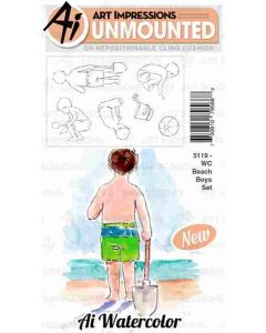 Art Impressions Beach Boys Watercolor Stamp Set