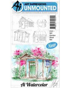 Art Impressions Garden Shed Watercolor Stamp Set
