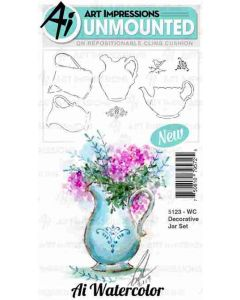 Art Impressions Decorative jar Watercolor Stamp Set