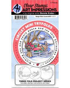 Sleigh Ride Circlet Mini TryFolds Stamp & Die Set - Art Impressions