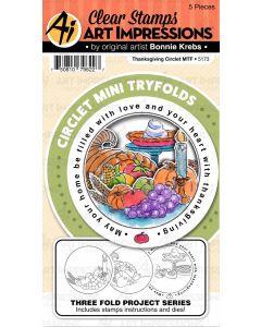Thanksgiving Circlet Mini TryFolds Stamp & Die Set - Art Impressions