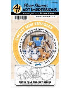 Nativity Circlet Mini TryFolds Stamp & Die Set - Art Impressions