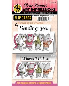 Christmas Kitty Flip Card Stamps - Art Impressions