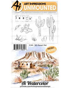 Desert Set Watercolor Cling Cushion Rubber Stamps - Art Impressions