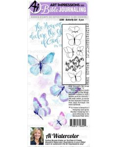 Butterfly Set Bible Journaling Cling Cushion Rubber Stamps - Art Impressions