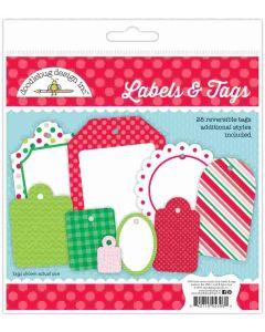 Here Comes Santa Claus Labels & Tags - Christmas Magic - Doodlebug Design