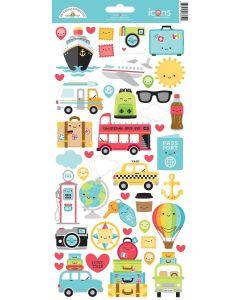 I Heart Travel Icon stickers - Doodlebug Design