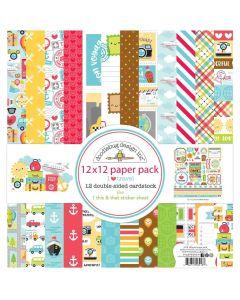 """I Heart Travel 12"""" x 12"""" Paper Pack - Doodlebug Design"""