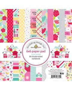 """Love Notes 6"""" x 6"""" Paper Pad - Doodlebug Design"""