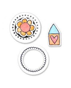 Circle & Icon/Flower & House Framelits Dies w/ Stamps - Let It Bloom - Stephanie Ackerman - Sizzix