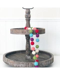 Spring Felt Balls Garland - Tiered Tray Decor - Foundations Decor