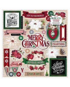 Joyful Christmas Chipboard Stickers, Red Glitter - Bo Bunny*