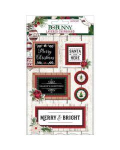 Joyful Christmas Layered Chipboard, Red Glitter - Bo Bunny*
