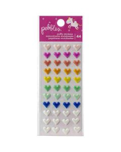 Live Life Happy Puffy Heart Stickers - Pebbles*