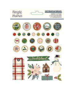 Winter Cottage Decorative Brads - Simple Stories