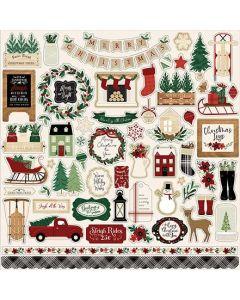 A Cozy Christmas Element Stickers - Echo Park