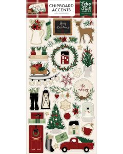 """A Cozy Christmas 6"""" x 13"""" Chipboard Accent Stickers - Echo Park"""