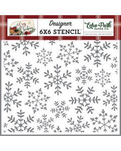 Cheerful Snowflakes Stencil - A Cozy Christmas - Echo Park