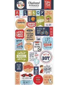 All Boy Chipboard Phrases - Lori Whitlock - Echo Park*
