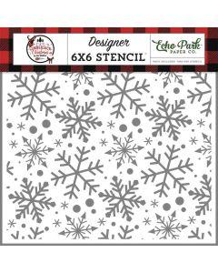 Jingle Bell Snowflake Stencil - A Lumberjack Christmas - Echo Park