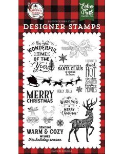 Warm and Cozy Wishes Stamps - A Lumberjack Christmas - Echo Park