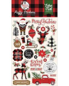 A Lumberjack Christmas Puffy Stickers - Echo Park