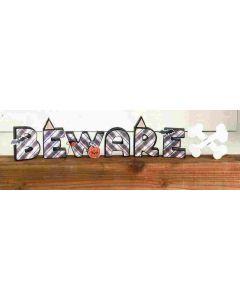 Beware w/ Crossbones Unfinished Wood Craft - Foundations Decor