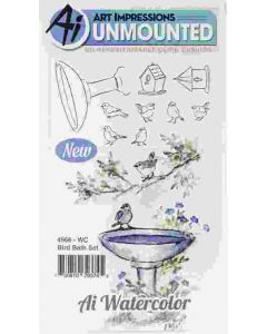Bird Bath Watercolor Cling Cushion Rubber Stamps - Art Impressions