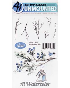 Branches Watercolor Cling Cushion Rubber Stamps - Art Impressions