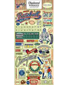 "Baseball 6"" x 13"" Chipboard Phrases Stickers"