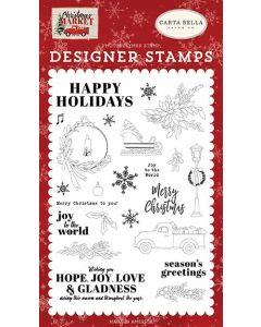 Happy Holidays Stamp Set - Christmas Market - Carta Bella