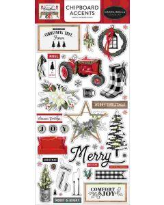 Farmhouse Christmas Chipboard Accents - Carta Bella
