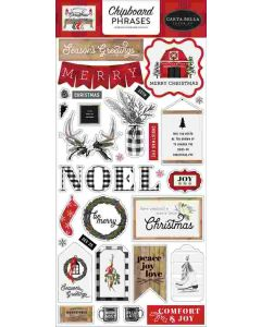 Farmhouse Christmas Chipboard Phrases - Carta Bella