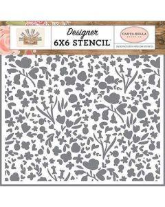 Garden Bloom Stencil - Farmhouse Market - Jen Allyson - Carta Bella*