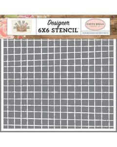 Vintage Grid Stencil - Farmhouse Market - Jen Allyson - Carta Bella*