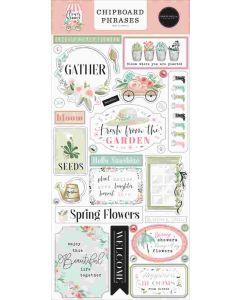 Flower Garden Chipboard Phrases - Carta Bella