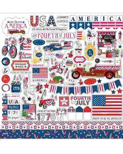 God Bless America Element Stickers - Carta Bella