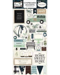 """Home Again 6"""" x 13"""" Chipboard Accent Stickers - Carta Bella"""