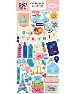 """Let's Travel 6"""" x 13"""" Chipboard Accent Stickers - Carta Bella"""