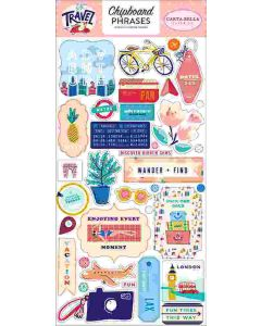 "Let's Travel 6"" x 13"" Chipboard Phrase Stickers - Carta Bella"