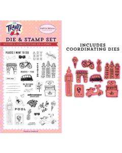 Adventure Begins Here Die & Stamp Set - Let's Travel - Carta Bella