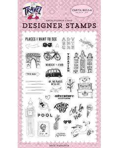 Adventure Begins Here Stamp Set - Let's Travel - Carta Bella