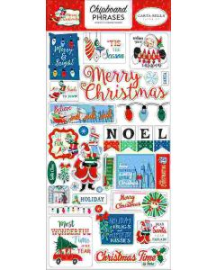 "Merry Christmas 6"" x 13"" Chipboard Phrase Stickers - Carta Bella"