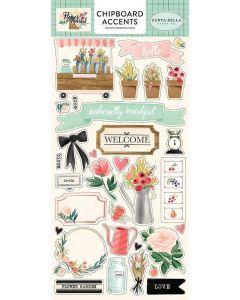 """Flower Market 6"""" x 13"""" Chipboard Accent Stickers"""