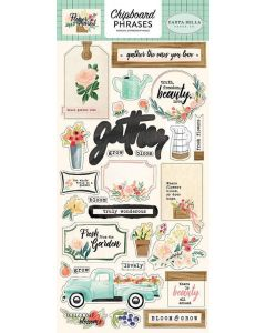 "Flower Market 6"" x 13"" Chipboard Phrase Stickers"